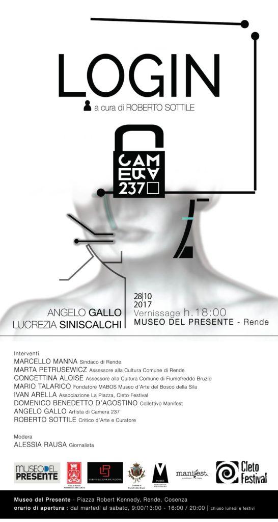 locandina login museo del presente Camera 2237 Angelo Gallo Lucy Mey